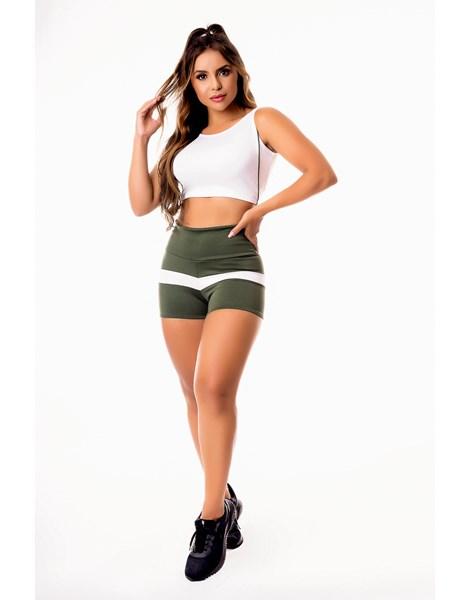 Conjunto Fitness Feminino Short Verde Militar com Branco Cintura Alta e Cropped Regata Branco com Detalhes em Vivo Academia REF: CSV8