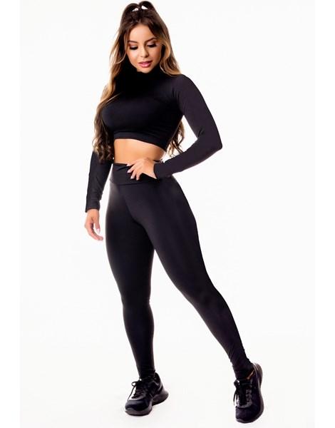 Conjunto Fitness Fitness Cropped Manga Longa e Calça Legging Preto REF: LX103