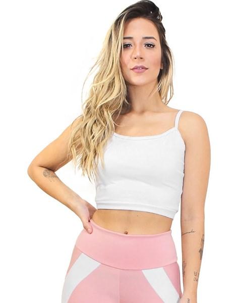 Cropped Fitness Alcinha Basic Branco REF: CC3