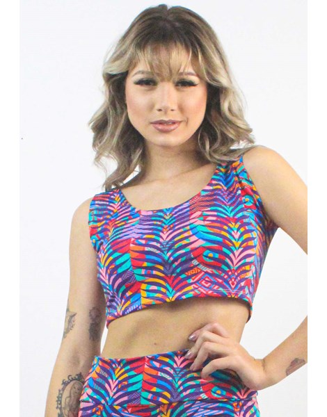 Cropped Fitness Estampado Colorful Striped Floral REF: CXE11
