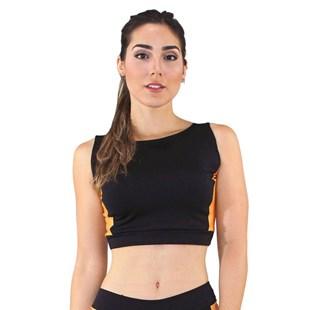 Cropped Top Fitness Preto Detalhe Amarelo REF: CC17
