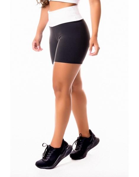 Short Fitness Academia Preto com Branco Cintura Alta REF: SV32