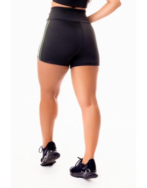 Short Fitness Academia Preto com Branco e Verde Militar Cintura Alta REF: SV44