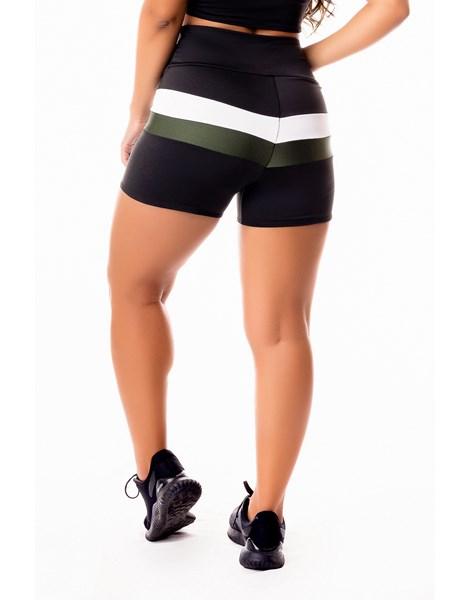 Short Fitness Academia Preto com Branco e Verde Militar Cintura Alta REF: SV46