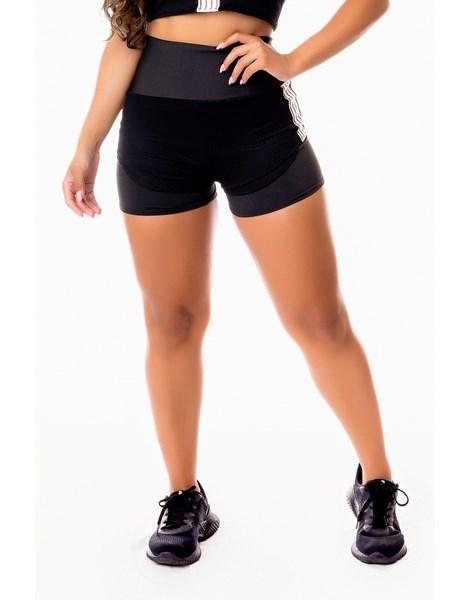 Short Fitness Academia Preto com Tela Dry Fit e Elástico Branco Cintura Alta REF: SV8