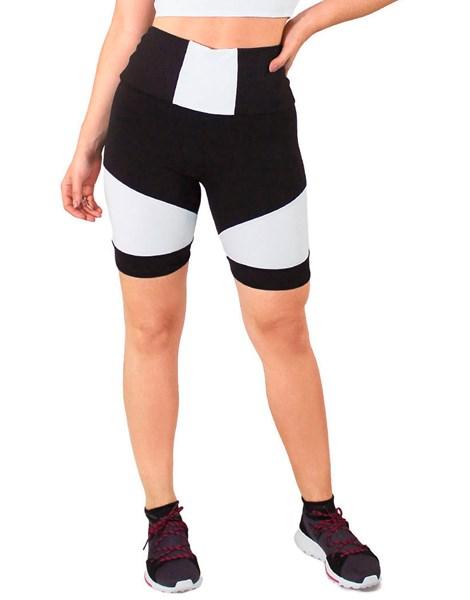 Short Fitness Preto com Detalhe Cintura Branco REF: LC39