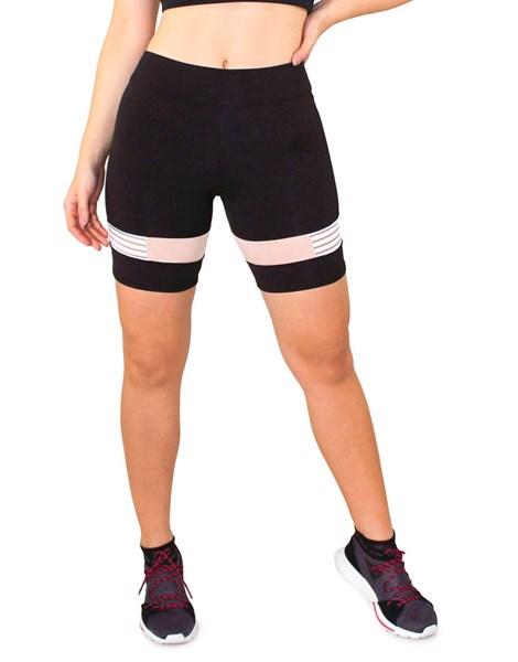 Short Fitness Preto com Detalhe Rose e Branco REF: LC35
