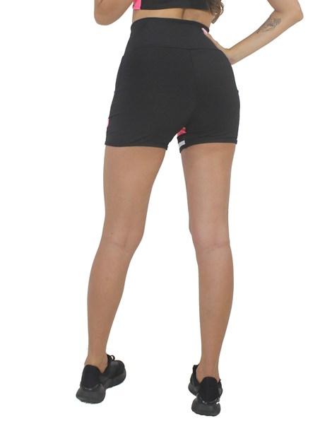 Short Fitness Preto Com Detalhe Tela e Rosa Neon REF: LX216