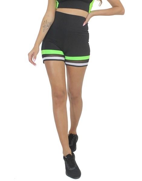 Short Fitness Preto Com Detalhe Tela e Verde Neon REF: LX215