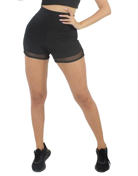 Short Fitness Preto Com Detalhe Tela REF: LX204