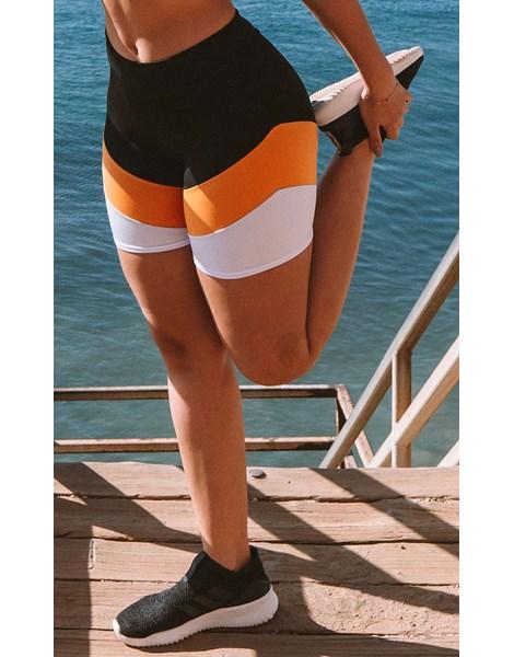 Short Fitness Preto Detalhe Amarelo e Branco REF: LC38