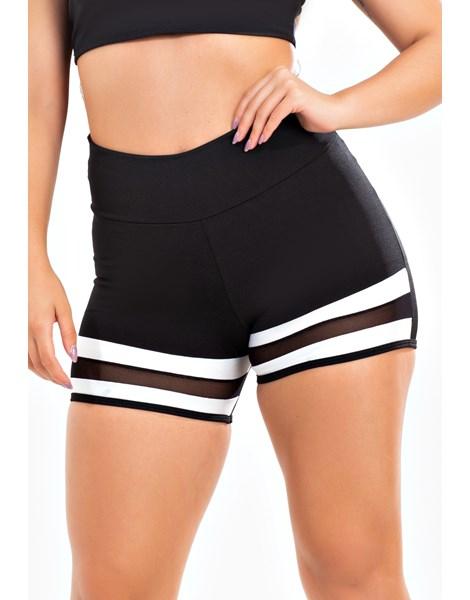Short Fitness Preto Detalhe Branco com Tela REF: LX196