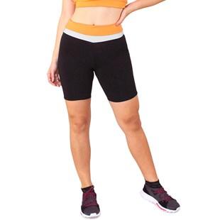 Short Fitness Preto Detalhe Cintura Amarelo e Branco REF: LC37