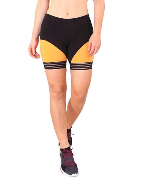 Short Fitness Preto Detalhe Preto com Amarelo REF: LC55