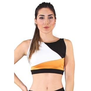 Top Cropped Fitness Preto Abstrato Detalhes Branco e Amarelo REF: CC20