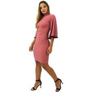 Vestido Curto Feminino Gola Alta Manga Flare REF: TCP5