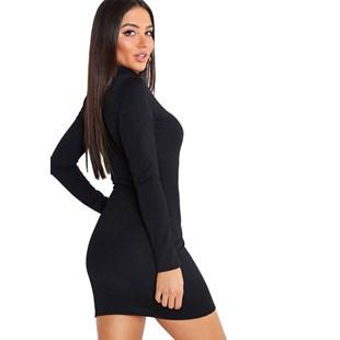 Vestido Curto Manga Longa e Gola Alta REF: OUT-NCR7