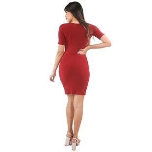 Vestido Curto Tubinho Canelado Com Fenda REF: VXN03