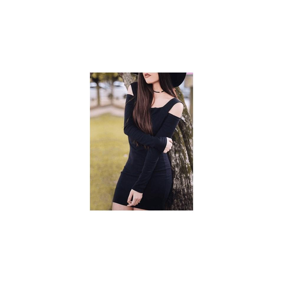 Vestido Curto Tubinho Ombro a Ombro com Alça e Manga Longa REF: V0024