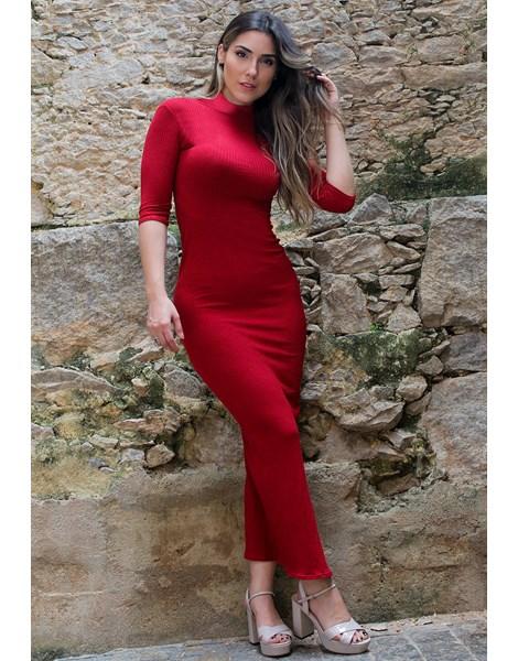 Vestido Feminino Canelado Manga 3/4 Gola Alta REF: NC6
