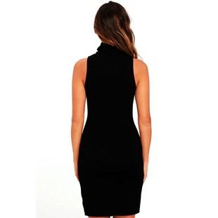 Vestido Feminino Curto Gola Alta Fendinha Lateral REF: V0062