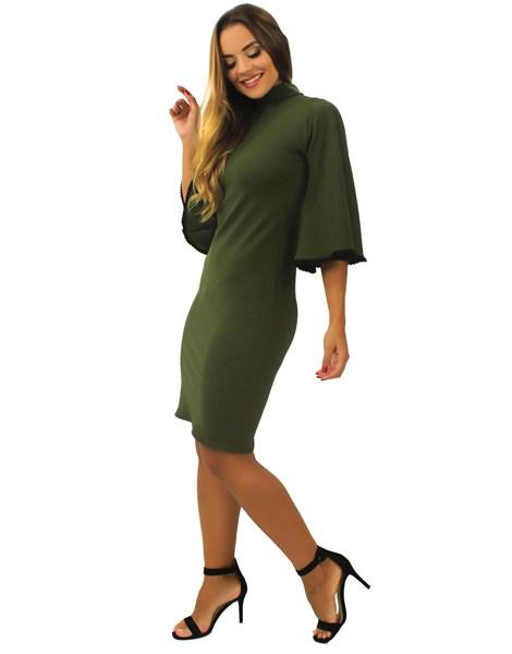 Vestido Feminino Curto Gola Alta Manga Flare REF: TCP3