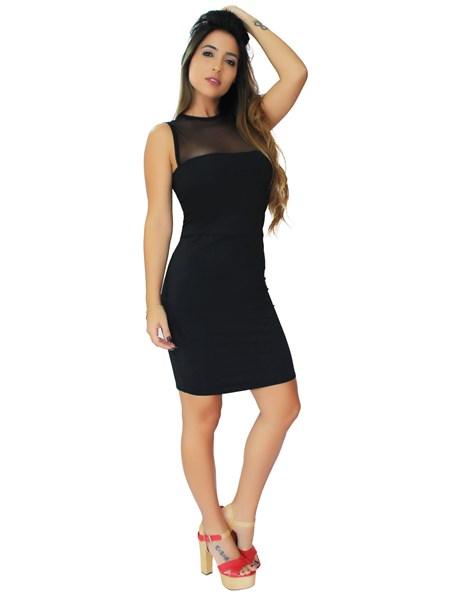 Vestido Feminino Curto Tubinho Social com Tulê no Busto REF: VRP301