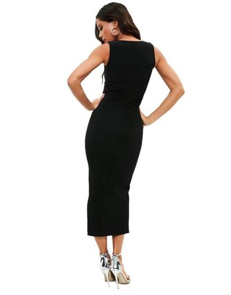 Vestido Feminino Decotado Midi Fenda Social Festa REF: OUT-VRP18