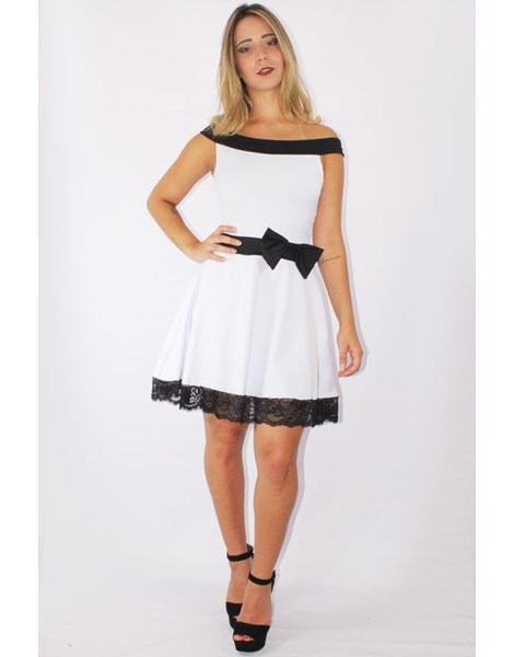Vestido Feminino Godê com Renda e Laço Preto e Branco REF: V0089