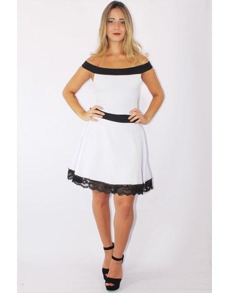 Vestido Feminino Godê com Renda  Preto e Branco REF: V0090