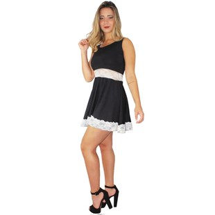 Vestido Feminino Godê com Renda REF: V0086