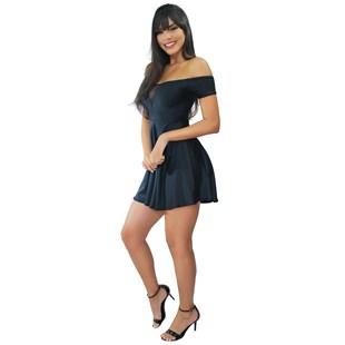 Vestido Feminino Godê Ombro a Ombro com Detalhe em Tulê no Busto REF: VRP334