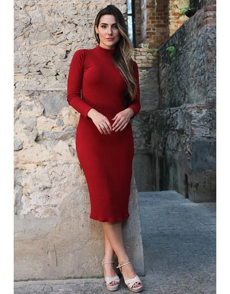 Vestido Feminino Longo Canelado Gola Alta Manga Longa REF: NC4
