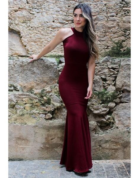 Vestido Feminino Longo Detalhe Pescoço Costa Aberta REF: NC3