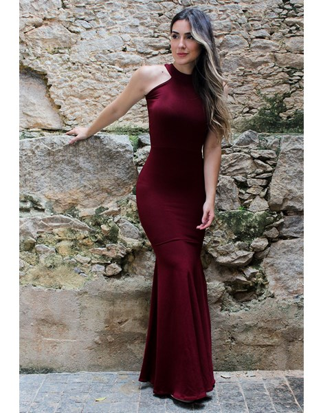 Vestido Feminino Longo Detalhe Pescoso Costa Aberta REF: NC3