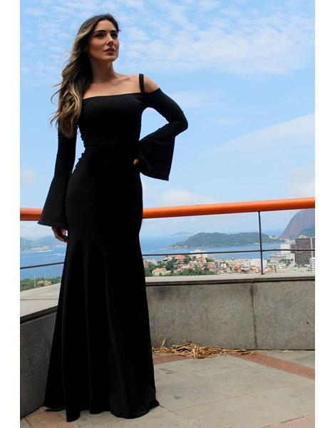 Vestido Feminino Longo Manga Flare Alcinha REF: VRP13