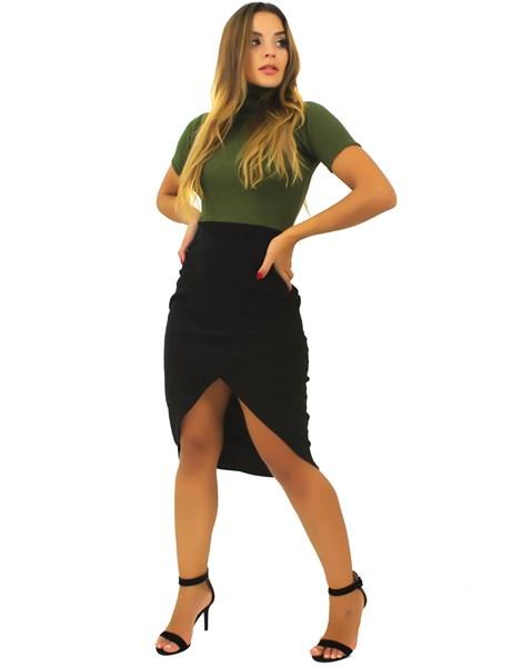 Vestido Feminino Manga Curta Fenda Frontal REF: TCP49