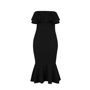 Vestido Feminino Midi Ombro a Ombro com Babado REF: OUT-MR42