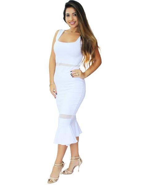 Vestido Feminino Midi Peplum com Tulê  REF: VRP303