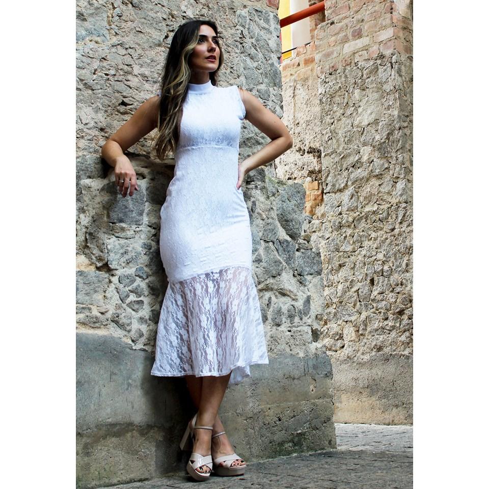 Vestido Feminino Midi Renda Social Gola Alta REF: VRP3