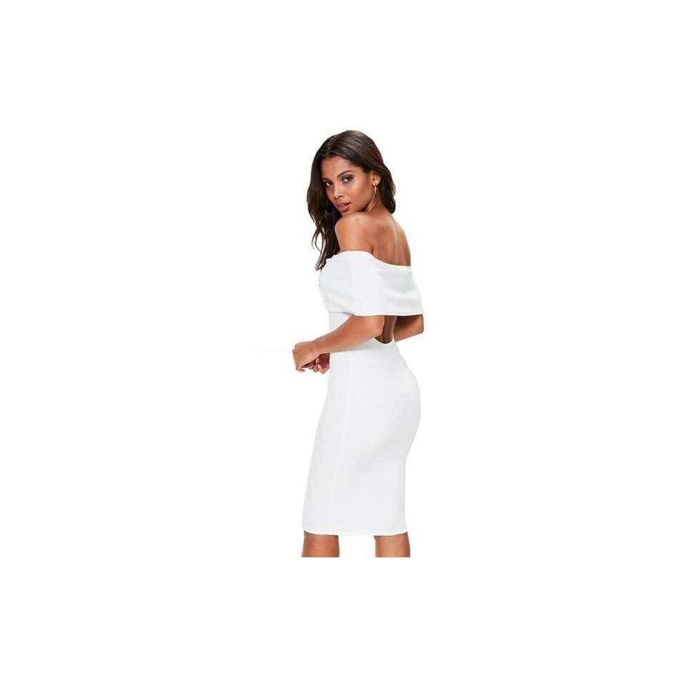 Vestido Feminino Ombro a Ombro Com Babado Decote na parte de trás REF: VRP278