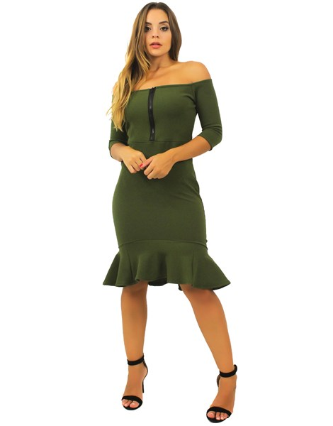 Vestido Feminino Ombro a Ombro Ziper Peplum REF: TCP52