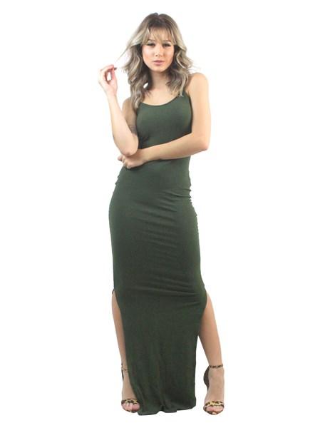 Vestido Longo Alcinha Canelado 2 Fendas REF: OUT-LT19