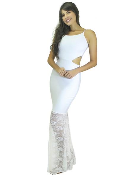 Vestido Longo Alcinha com Detalhe na cintura e Renda REF: VK6