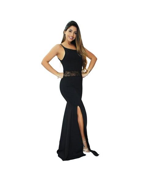 Vestido Longo Alcinha com Renda na Cintura e Fenda REF: VRP306