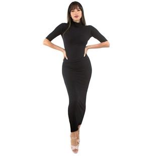 Vestido Longo Com Gola e Manga 3/4 e Fenda REF: VXN05