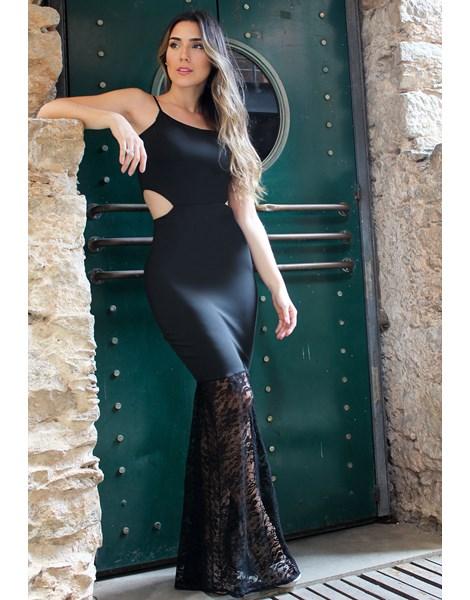 Vestido Longo de Renda com Alcinha e Detalhe na Cintura REF: VK19