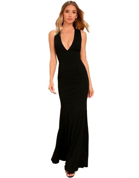 Vestido Longo Feminino Com detalhe cruzado Decote costa nua REF: VRP265