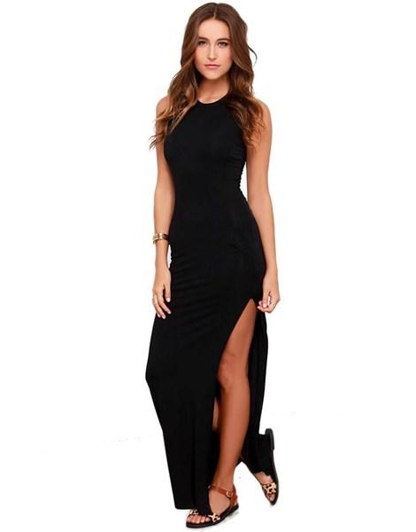 Vestido Longo Feminino com fenda lateral Regata com Bolso REF: VRP264