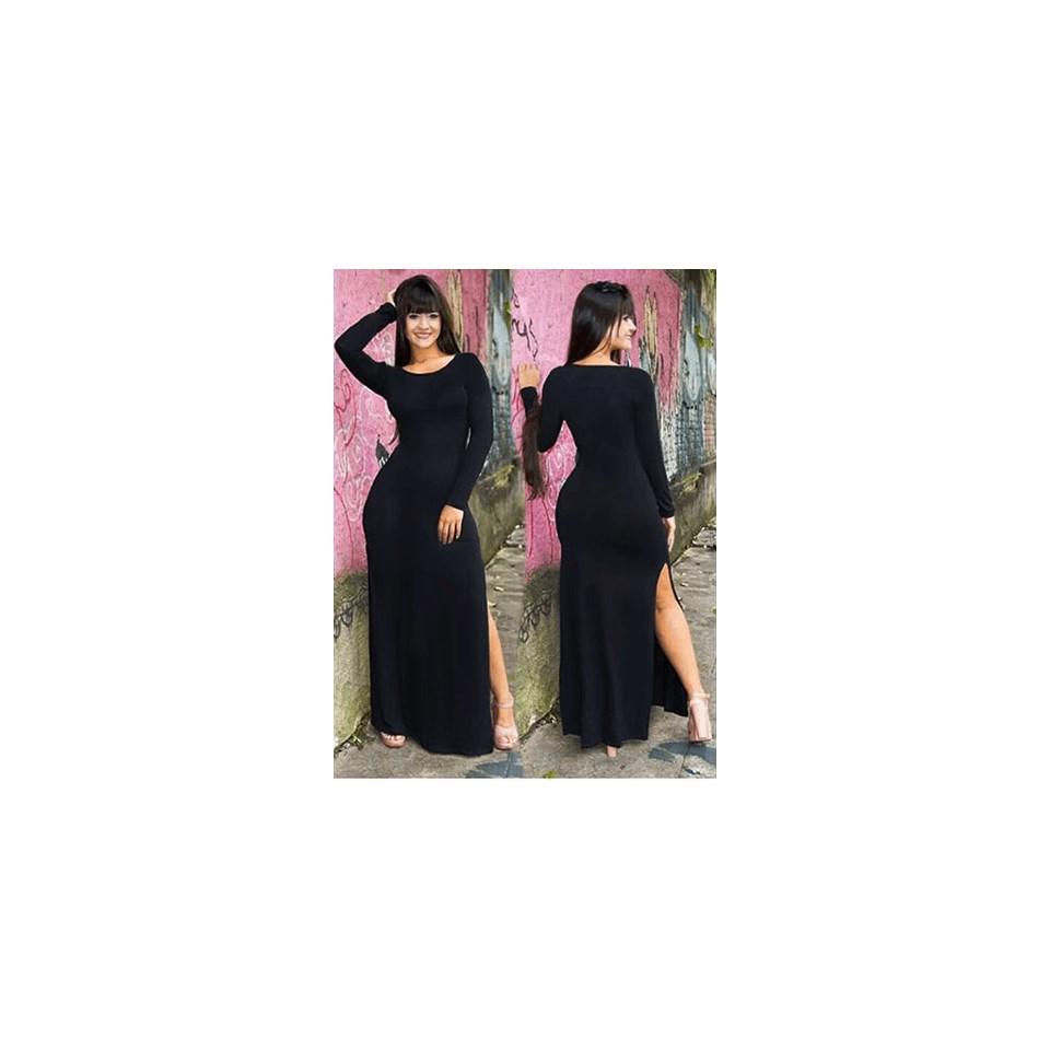 Vestido Longo Manga Longa e Fenda Lateral REF: L0006